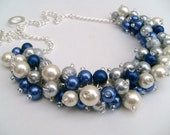 Set of 4 Ivory Royal Blue Silver Pearl Beaded Necklace, Wedding Bridesmaid Jewelry, Cluster Necklace, Chunky Necklace, Bridesmaid Gift