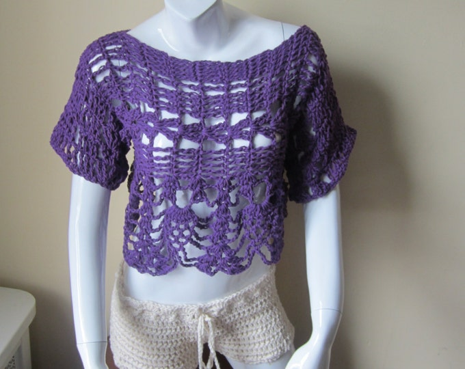 Cropped off shoulder top, boho top, festival top, gypsy top, cream top, scoop neck, boat neck, bamboo yarn