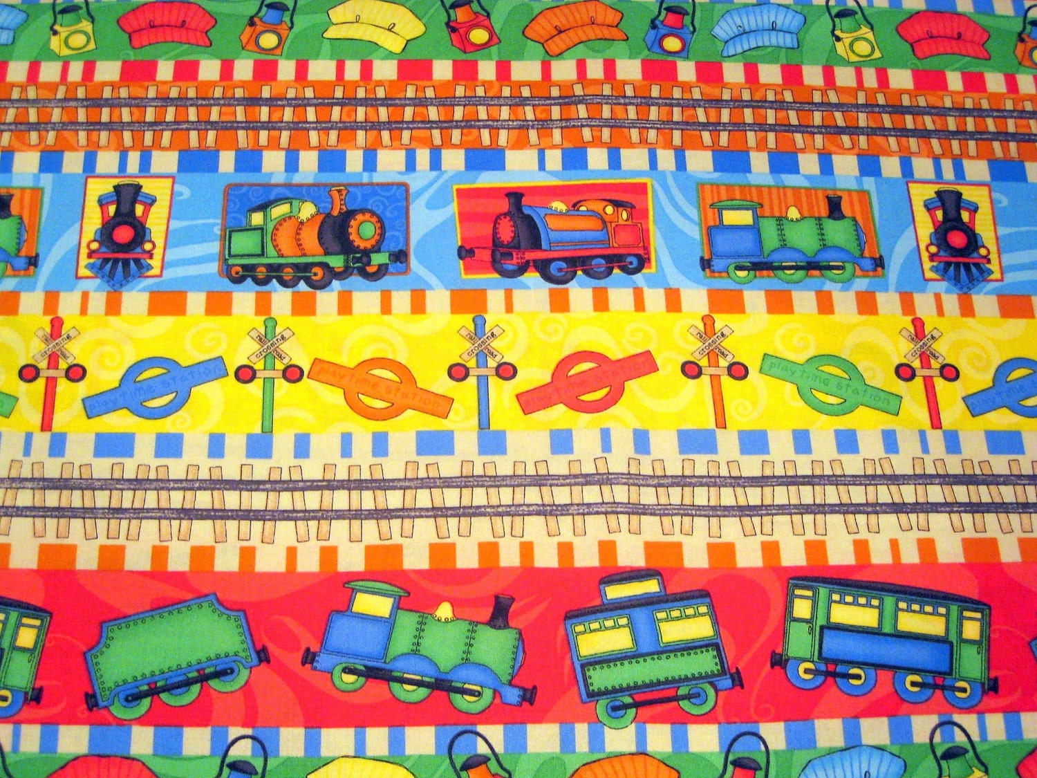 Train cotton quilting fabric kid theme engineer railroad for Train themed fabric