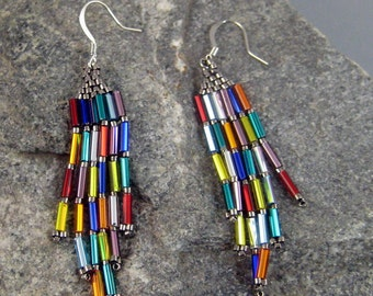 Festive Beaded Brick Stitched Earrings, hypoallergenic earrings, Native American earrings, Colorful earrings, Beaded earrings, womens wear