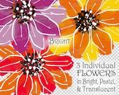 Flower Clipart   Floral Clip Art   Bright Pastel Translucent   Digital Download   iPad Paintings   Purple, Red, Orange   Scrapbooking Supply
