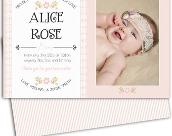 Photo Birth Announcement/Girl Birth Announcement/Printable Photo Birth Announcement/Print yourself/Floral/Personalized