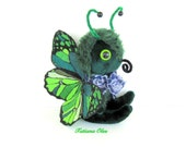 Plush Butterfly Art toy  Soft art doll  11 inches tall Green Wings