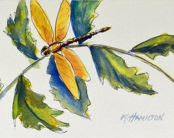 Dragonfly Watercolor Wall Decor, Original Nature Painting 4 x 6 inches, Dragon Fly, Bug, Insect Art, Teacher Gift, Lake House Deco