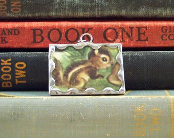 Chipmunk Pendant - Soldered Glass Charm with Vintage Book Illustration - Woodland Animal Charm - Chipmunk Charm - Hand Made Charm