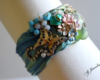 Shibori Silk Bracelet Fluttering Moments