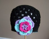 "Crocheted Beanie ""The Maddy"" Black, Lavender, Purple, Pink Flower Open Weave Custom Colors"