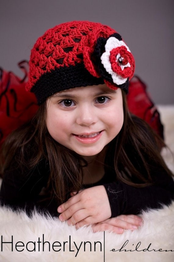THE LADYBUG  Crocheted Beanie Hat  Red/Black/White Costume  Animal Theme