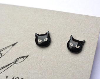 Black Cat Post Earrings - Handpainted post earrings - Small black studs