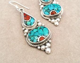 Turquoise Tibetan Silver Earrings // Boho Ethnic Mosaic Earrings