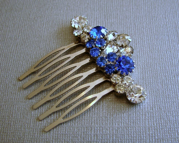 Something Blue Rhinestone Hair Comb Jeweled Hairpiece Vintage Jewelry Headpiece Wedding Bridal Formal Prom Ballroom Pageant Boho Accessory