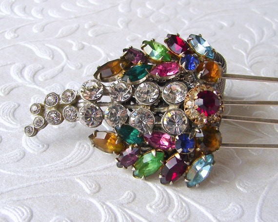 Rhinestone Jewelry Wedding Hairpiece Jeweled Comb Bridal Headpiece Bohemian Chic Vintage Fruit Salad Boho Hair Accessory Formal Hair Piece