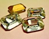 Six Vintage Czech 16x11mm Crystal Clear Glass Baguette Rhinestone Jewels (59-16B-6)