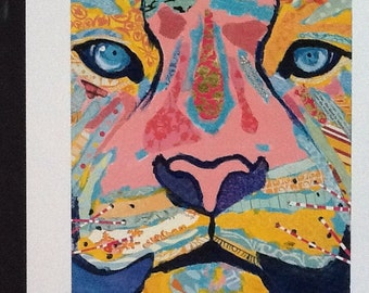 Hello, Tiger Limited Edition Print from Original Collage Painting Animal Portait
