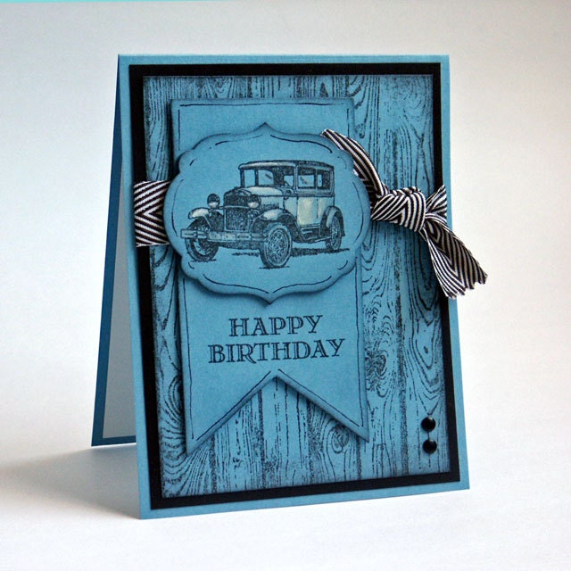 Masculine Vintage Style Happy Birthday Fancy Greeting Card