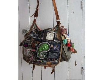 bohemian Gypsy Famous Label bag - altered Urban military bag