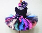 Rainbow Tutu, Girls Rockstar Birthday Tutu, Sewn Tutu, So Cal Punk Extra Full Tutu, Black with Neon Rainbow Colors
