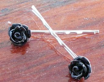 Two Black Rose Bobby Pins Hair Pins Barrettes Black Acrylic Roses