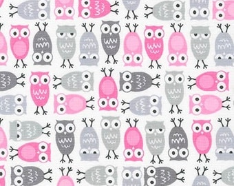 Minis Urban Zoologie minis - Owls in Pink by Ann Kelle for Robert Kaufman - 1 Yard