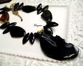 Statement bold Black Spike Bip Necklace-One of a kind black gem Agate Necklace set Earrings-Long Chunky statement Black Spikes Necklace
