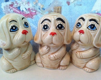 VERY RARE Vintage Antiques Three Piece SET Puppies Salt and Pepper Shakers and Toothpick Holder Collectible Figurines New Old Stock