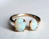 14k Yellow Gold Dual Ring with Opals