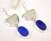 Cobalt Blue Sea Glass Earrings Sea Glass Jewelry E-133