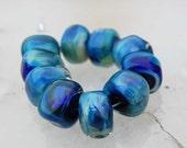 10 Shimmering Ultra Marine Nuggets Blue Ocean Blue Handmade Lampwork Beads by Beadfairy Lampwork, SRA