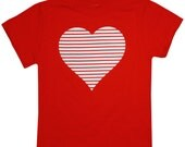 Youth Valentines Day Retro Stripe Heart Tee