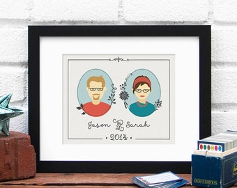 Family Established, Custom Couple Portrait, Family Illustration, Parents Anniversary, Custom Family, Gift for Mom, Parents gift, Custom Art
