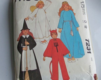 Vintage Pattern, McCall's Pattern, McCall's 7231, Child's Costume Pattern, Devil, Witch, Angel, Princess, 1980s Pattern, Etsy, Vintage Etsy