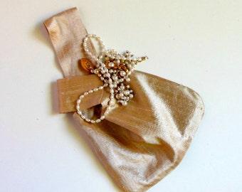 Gold evening bag, Japanese knot bag, gold dupioni purse, holiday handbag, prom wristlet, formal evening bag,