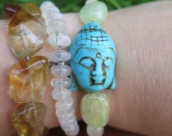 Turquoise Howlite Stone Buddha & Prehnite Citrine Yoga Bracelet -Yellow Green - Womens Bohemian Gem Jewelry - Boho Crystal Gemstone - Yoga