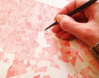 Sample SALE PARIS France City Block Plan (Original Watercolor) Art Map