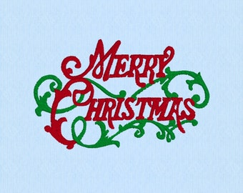 Merry Christmas Vintage script machine embroidery design file