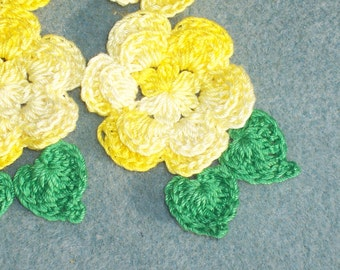 6 shaded yellow cotton thread crochet applique roses with green leaves --  779