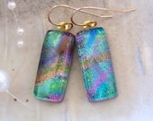 Dichroic Earrings, Glass Jewelry, Dangle, Gold Filled, Green, Purple, Gold, Pink