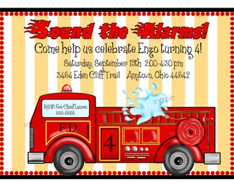 Fire  truck invitations, Fire engine Invitations, Fire station Invites, Fire trtuck Birthday party,  Kids, Children