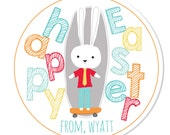 Personalized Stickers -- Skateboarding Bunny -- Personalized Labels, Personalized Easter Stickers, Personalized Book Label -- Choice of Size
