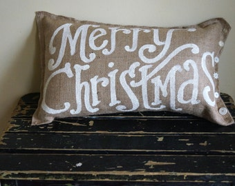 Merry Christmas burlap Quincy Pillow