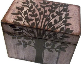 Wooden Recipe Box, Couples Gift, Wedding Guestbook, Tree Box, Decorative Box, Storage Organization, Holds 4x6 Cards, MADE TO ORDER