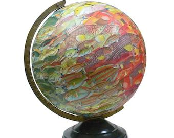 Vintage Globe Art, School of Fish, Fish Swarm World Globe Art