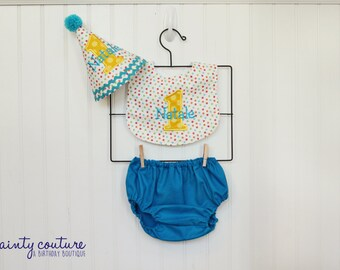 Boys first birthday cake smash outfit - Red, blue, green, aqua, and yellow dots - Hat, bib, diaper cover - Keepsake
