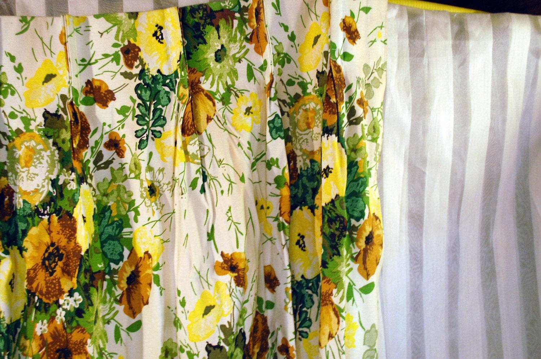 Vintage par cortinas cortinas flores amarillas hojas for Cortinas amarillas