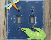 ALLIGATOR Switch Plate Cover - Hand Painted Wood