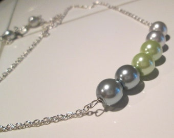ombre sage green pearl bead hand made pendant by Ziporgiabella