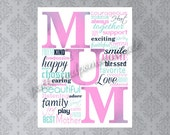 MUM Printable Art, Word Collage Sign, Mother Art Print