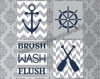 Nautical Bathroom Printable Art Set, Brush Wash Flush Sign, Anchor