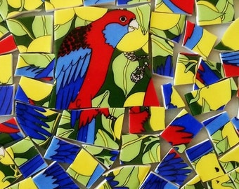Mosaic Tiles-Crimson Rosellas-Australian native Birds-90 Tiles