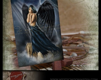 LIMITED...Risha... ACEO / ATC.. Fantasy Picture...Dark Blue Midnight Angel of the Storms